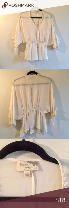 "Elizabeth & James Cream Silk Romantic Blouse Small gorgeous and ethereal. a few pin holes near bottom hem where ""xx"" stitching came out (brand signature). pure silk, sheer, elastic waist, side snap closures. Elizabeth and James Tops Blouses"