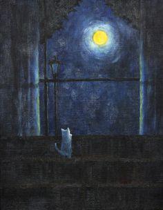 Moonlight by emirkgkn cat, fantasy