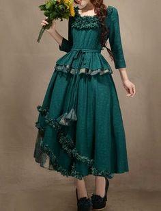 Peacock Blue Cotton skirt women skirt fashion by happyfamilyjudy, $87.99