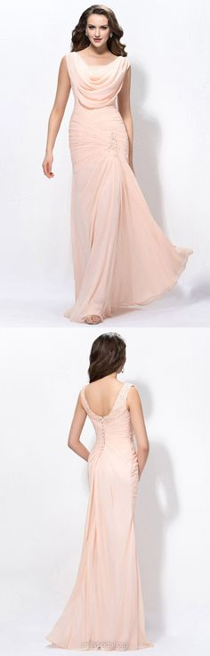 Long Prom Dresses, 2018 Prom Dresses Sheath/Column, Sequins Prom Dresses Cowl Neck, Chiffon Prom Dresses Modest