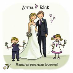 Superleuk om te gaan trouwen met jullie eigen kinderen erbij! Kies dan voor deze trouwkaart met bruidspaar en kinderen, zodat jullie gezin compleet op de kaart staat.