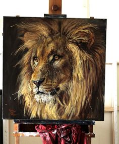 Lion Painting, Lion Pictures, Still Life Oil Painting, Lion Art, Nature Illustration, Majestic Animals, Realistic Paintings, Harley, Wildlife Art