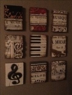 Beautiful music-themed Sid Dickens set #decor #wall decor #interior design #music note #piano #mozart #decorating idea #memory blocks