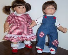 "American Girl 15"" Doll Clothing - Bitty Twins ""Ruffles and Patches"" Boy/Girl Play Sets. $28.00, via Etsy."
