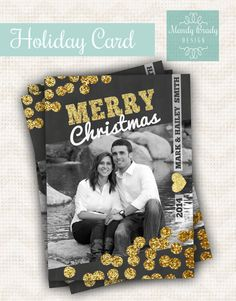Digital Christmas Card Design   Chalkboard Christmas Card   Gold Polka Dot Holiday Card   Classy Christmas Card   Instant Download Card