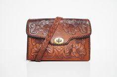 Tooled Leather Handbag by thewhitepepper on Etsy, $42.50