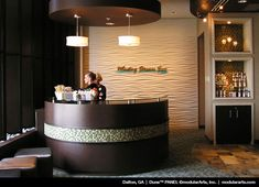 modular art with receptionist desk and pendants and logo Receptionist Desk, Nail Salon Design, Reception Desks, Dental Reception, Reception Areas, Front Office, 3d Wall Panels, Office Lobby, Office Decor