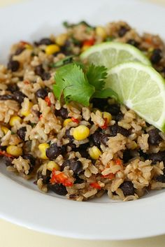 Brown rice w/ black beans- by Annie's Eats- This was really good! I added some leftover grilled chicken. Both kids had seconds :)