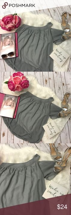 """Allegra-K -Grey Off the Shoulder Blouse This beautiful blouse features a gorgeous neutral gray color with an off the shoulder style. Also, features a scoop neck and is fully lined. Size Small. Never worn. Length 20"""". Bust 34"""" Allegra K Tops Blouses"""