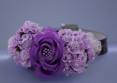 Purple wedding dog collar, dark and light purple flowers , Cute Floral Dog Collar, unique dog collar for your wedding. $42.99, via Etsy.