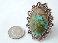 Very Large Natural Blue Green Turquoise Sterling Silver Ring Vtg Southwestern | eBay
