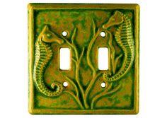 Seahorses Ceramic Light Switch Cover Double by HoneybeeCeramics, $25.00