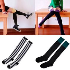 New Sexy Women's Socks Ladies Girl's Over Knee Thigh High Boots Cotton Hose | eBay