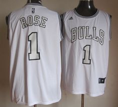 Adidas NBA Chicago Bulls 1 Derrick Rose New Revolution 30 Swingman White on White Jersey