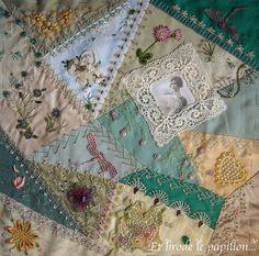 I ❤ crazy quilting  embroidery . . . Ati's block for a step by step round robin. On this block Ati mounted the fabrics. Helina and Lorenza made the seams, Maureen the embroideries, and I added the beads. Margreet will finish it. ~By brodanni