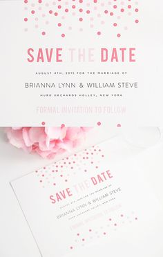 Fun confetti save the dates! http://www.shineweddinginvitations.com/save-the-dates/confetti-save-the-date-cards