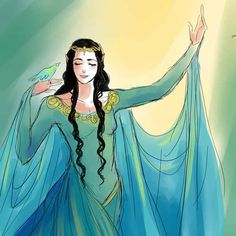 Melian was a Maia of the Ainur and the mother of Lúthien Tinúviel, and therefore an ancestor of Arwen.