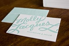 Oh So Beautiful Paper: Molly Jacques Calligraphy Handlettered Letterpress Business Cards + Artwork