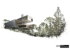 House in Curitiba - Biselli Katchborian Architects - Rendering by Estudio MI Architecture Collage, Architecture Board, Architecture Graphics, Architecture Visualization, Architecture Drawings, Architecture Portfolio, Interior Architecture, Autocad, Le Corbusier
