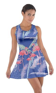 9370392799 CowCow Womens Flamingo Feather Blue Cotton Racerback Dress