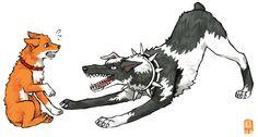 Ichigo and Kenpachi as dogs