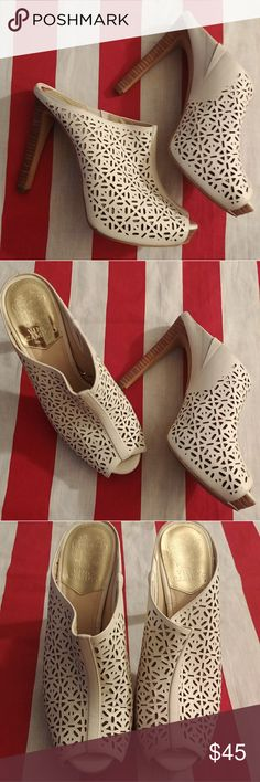Vince Camuto Jaso cut out white stilettos mules 8 Vince camuto  8 peep toe white leather laser cut stiletto mules Vince Camuto Shoes Heels