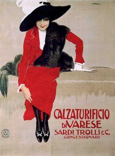 Art Print: Calzaturificio Di Varese, by Leopoldo Metlicovitz : Vintage Italian Posters, Vintage Advertising Posters, Vintage Travel Posters, Vintage Advertisements, Vintage Ads, Old Poster, Poster Retro, Poster Ads, Movie Posters