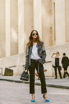 Italian Blogger Patricia Manfield at Paris Fashion Week // How to Get This Look: (http://www.racked.com/2015/11/9/9675890/patricia-manfield-biker-jacket-street-style)