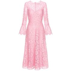 Valentino Lace Dress (334.645 RUB) ❤ liked on Polyvore featuring dresses, pink, pink cocktail dress, lacy dress, pink lace dress, pink lace cocktail dress and lace dress