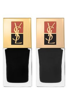 YSL polish duo. one is matte black and other shiny black for tone on tone manicure!