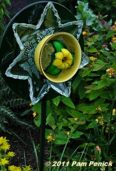 Image detail for -And bowls and plates find new life as garden-art flowers.