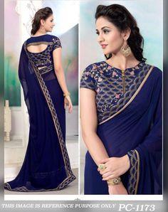 Indian pakistani bollywood designer GEORGETE PARTY WEAR SARE wedding sari ethnic