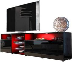 Meble Furniture & Rugs TV Stand Roma Matte Body High Gloss Doors Modern TV Stand LED (Black) | Google Shopping Living Room Storage, Living Room Furniture, Storage Spaces, Home Theater Room Design, Home Theater Rooms, Red Tv Stand, Tv Cabinets, Tv Unit, Modern Tv