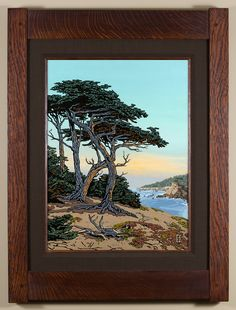 Seaside Monterey Cypress - 1st in a 4 part California Regions series, focusing on the coast. - Arts & Crafts - Craftsman - Bungalow - Keith Rust Illustration Framed Giclée Prints — Blog — Keith Rust Illustration Seaside-Monterey-Cypress-Java-Xsml.png
