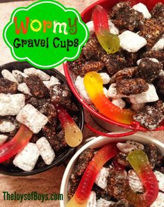 Wormy Gravel Cups - Fun Food for Kids - The Joys of Boys