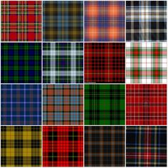 "Tartan, cross-checkered repeating pattern (or ""sett"") of different coloured bands, stripes, or lines of definite width and sequence, woven into woolen."