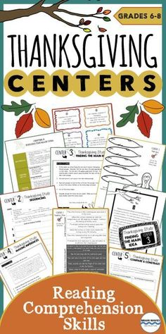 If you're like most teachers, then you're always on the lookout for fun and creative ways to teach students critical reading comprehension skills. Well, you're in luck! These Thanksgiving-themed reading comprehension centers or stations are not only designed to give students meaningful opportunities to practice reading, they're also incredibly fun and engaging!  This Thanksgiving Centers resource contains activities and lessons for 5 learning centers.