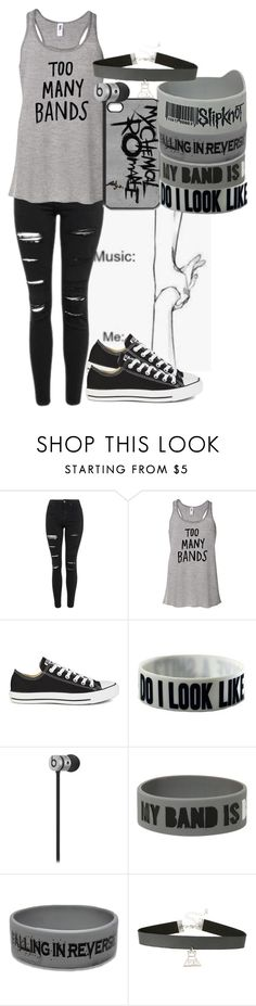 """Bands Are My Life"" by crystal0248 ❤ liked on Polyvore featuring Topshop and Converse"