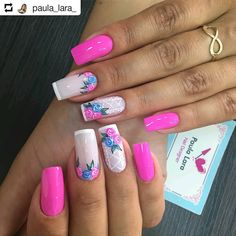 Uñas Manicure Colors, Manicure And Pedicure, Glitter French Manicure, Nail Art Kit, Stylish Nails, Beautiful Nail Designs, Flower Nails, Spring Nails, Toe Nails
