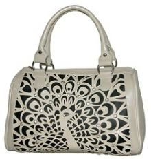 Beige Rhinestone Peacock Handbag