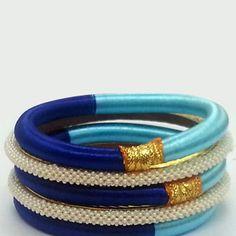 Aqua Blue , Blue and Off White Fashionable Bangle