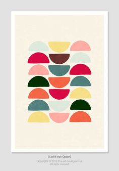 Coloured Stacks Mid Century Modern Abstract by TheArtLoungeUK