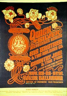 The Family Dog Presents Dance Concert Quicksilver Messenger Service Big Brother & the Holding Co. / Country Joe & the Fish November 1966 @ Avalon Ballroom - San Francisco © Family Dog 1966 Vintage Concert Posters, Vintage Posters, Vintage Records, Vintage Music, Vintage Prints, Victor Moscoso, Psychedelic Music, Psychedelic Posters, Hippie Posters