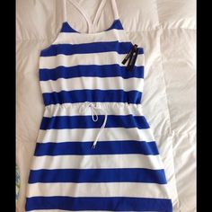 """New 'Sperry' fun summer dress/coverup L Very cute Nautical look coverup/dress! Braided rope straps, braided drawstring at waist with signature 'Sperry' grommets. Nautical blue and white stripes. 100% cotton Approx 38"""" long. Perfect to throw over your suit and go!!! Or wear it to any 'beachy' occasion!!. Brand New. L Sperry Top-Sider Swim Coverups"""