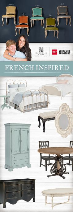 French Inspired pieces are all about effortless elegance and classical details. Magnolia Home by Joanna Gaines. Magnolia Fixer Upper, Fixer Upper Joanna, Magnolia Farms, Magnolia Homes, French Country House, French Farmhouse, Modern Country, Farmhouse Table, French Decor
