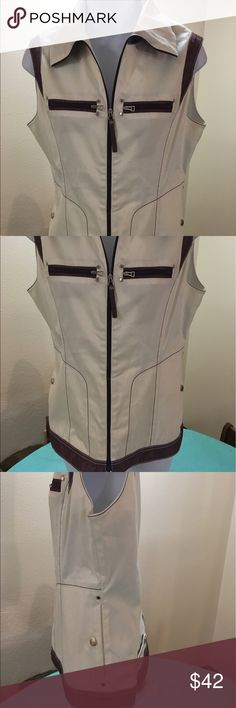 Walter Genuin cream vest with purple accents Light weight but stylish vest.  New, no tags.  Smoke free environment. Walter Genuin Jackets & Coats Vests