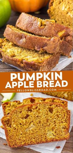 This Pumpkin Apple Bread is ridiculously moist and tender with all of those favorite warm fall flavors you love in the cool fall and winter months. Pumpkin Apple Recipe, Apple Recipes, Pumpkin Recipes, Fall Recipes, Apple Desserts, Apple Bread, Pumpkin Bread, Vegan Pumpkin, Quick Bread Recipes