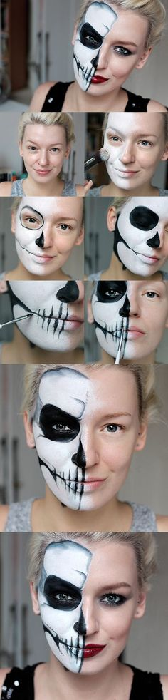 Halloween Simple Half Skull Glam Makeup Tutorial by zoe newlove (Halloween) – Halloween Make Up Ideas Halloween Zombie Makeup, Halloween Makeup Youtube, Halloween Looks, Halloween Ideas, Halloween 2018, Halloween Tutorial, Diy Zombie Makeup, Half Face Halloween Makeup, Matching Halloween Costumes