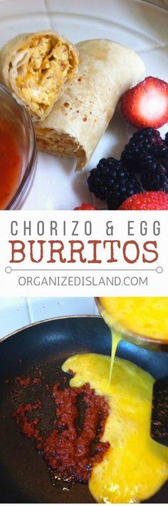 In the mood for breakfast burritos? Try my chorizo and egg breakfast burrito recipe and enjoy the great flavors!  #chorizo #egg #burrito #recipe #quick #breakfast