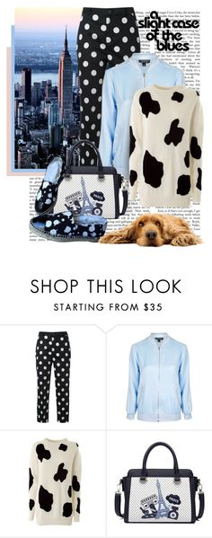 """A slight case of the blues...."" by tinuviela ❤ liked on Polyvore featuring Guild Prime, Topshop, Moschino and Chanel"